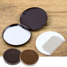 Mini Folding Pocket Chocolate Cookie Shaped Makeup Cosmetic Compact Mirror