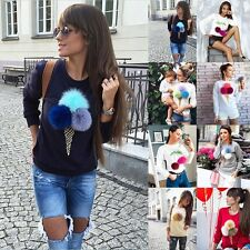 Womens Long Sleeve Plush Pom Pom Ball Sweater Pullover Hoodies Jumper Top TShirt