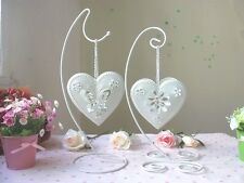 Country White Heart Tea Light Candle Holder Shabby Chic Wedding Favour Decor
