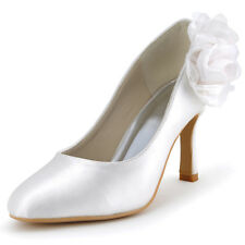EP2081 Closed Toe Pumps High Heels Flowers Satin Wedding Bridal Party Shoes