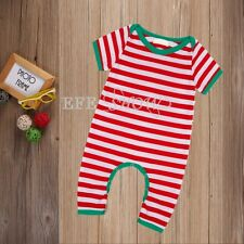 Unisex Infant Baby Toddler Short Sleeve Christmas Striped Romper One Piece 6-24M