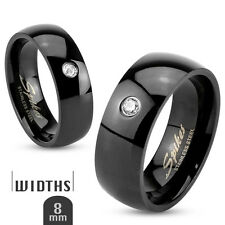 Single CZ Classic Black IP Stainless Steel Engagement Wedding Band Mens Ring