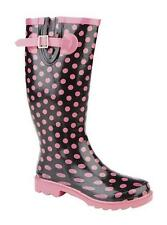 Ladies New Black Pink Polka Dot Wellies Wellington Boots Rain Stormwells