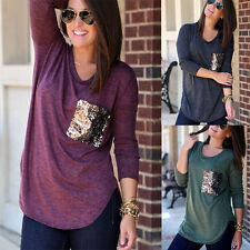 Womens Fashion Glitter Casual Long Sleeve Tops Ladies Loose T-Shirt Blouse zw