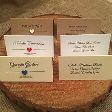 Personalised 3d Heart place name cards white Ivory Kraft with guest menu choice