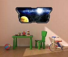 Spaceship Window STARS & PLANETS #3 SPACE Wall Sticker Kids Room Decal Graphic