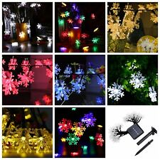 20 LED Christmas Wedding Fairy Garden Decors SnowFlake Flower Solar String Light