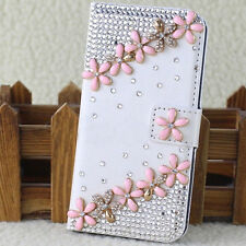 Crystal Magnetic Diamonds Pink flowers PU leather wallet flip phone case cover G