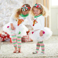 2 Piece Baby Girl Christmas Reindeer Top Shirt Pants Dress Up Outfit Clothes Set