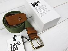 NEW LEE 101 REAL LEATHER COGNAC BELT BROWN/GREEN JEANS SIZE W30 W32 W34 W36 W38
