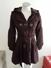 NEW Ladies Brown Winter Jacket/Coat with Hood - Ajoy Brand - Size 8