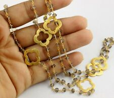 Natural Smoky Quartz Beaded Chain Clover Charm 24k Gold Plated Necklace 3-4mm 36