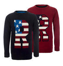 Boys Soul & Glory Knitted US Flag Print Pullover Sweater Jumper Size 3-8 Years