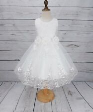 Girls Flower Girl Dress Lace Tail Wedding Bridesmaid Formal Pageant Party Dress