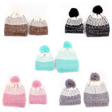 Mother&Baby Knitted Wool Beanie Hat Women Kids Pompom Ball Hat Crochet Warm Cap