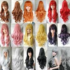 Full Women POP Long Curly Wavy Wigs Anime Cosplay Party Wig Xmas Fancy Dress UK