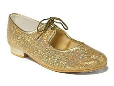 TAPPER AND POINTERS GIRLS GOLD GLITTER TAP SHOES
