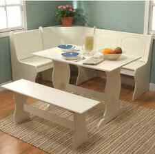 Corner Breakfast Nook Dining Set 3 Piece Table And Bench White Wood Storage