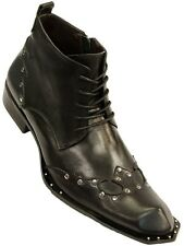 Zota Mens Black Leather Metal Studded Western Trending Zipper Ankle Dress Boot