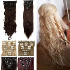 Real Full Head 8 piece Clip in on Hair Extensions 18 clips thick as remy hair k