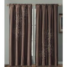 """Carrie Embroidered Faux Silk Window Curtain Panel 55x84"""" Chocolate or Gray"""