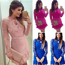 Womens Bodycon Cocktail Lace Crochet Dress Ladies Prom Evening Party Dress Tunic