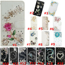 Magnetic Bling Luxury Diamonds Crystal PU Leather wallet flip Slots Cover Case H