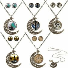 Jewelry Set Necklace Earrings Owl Gem Time Glass Cabochon Wedding Women Vintage