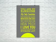 You Are My Sunshine Print - Typography Print - Anniversary - Happy Print