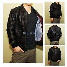 New Tommy Hilfiger Mens Classic Fit Leather Jacket Black M L XL $500 MSRP