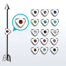 14g 1.6mm Steel Barbell Heart Jewel Arrow Long Industrial Bar Ear Cartilage Punk