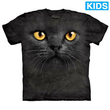 BIG FACE BLACK CAT Kids T-Shirt Kitten Witch Halloween Mountain Boy Girl NEW!