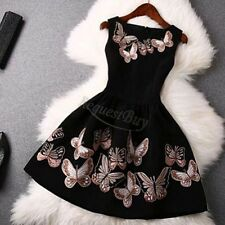 Women Casual Sleeveless butterfly Evening Party Cocktail Sexy black Mini Dress