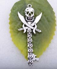 Wholesale 2pcs/5pcs/10pcs tibet silver cool skull pirate mark key charm pendant