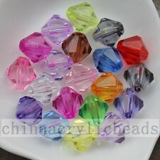 Assorted Colors Transparent Faceted Acrylic Bicone Spacer Beads Charm 4-20MM