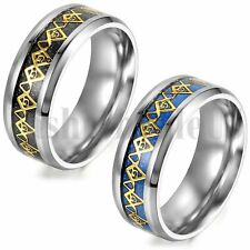 Masonic Ring Mens Stainless Steel Mason Lodge FreeMason Insignia Blue Black 6-12