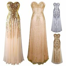 Sequin Strapless Sweetheart Mesh Lace up Banquet Dress| Gatsby Inspired Art Deco