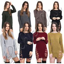 Women Ripped Torn Ladies Oversized Scoop Neck Jumper Wooly Dress Long Blouse Top