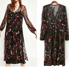 S M L BOHO CHIC GYPSY WOMENS FLORAL BIRD EMBROIDERED DRESS TUNIC LACE BLOUSE TOP