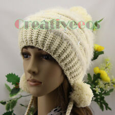 Fashion Ski Cap Winter Knit Warm Wool Braid Hat Striped Diamond Beanies Pom Pom