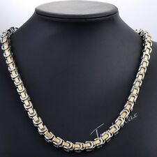 """18-36"""" MENS Chain Gold Silver Stainless Steel Necklace 8mm Greek Byzantine Box"""
