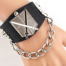 Fashion Men Cool Punk Rock Giant Link Chain PU Leather Cuff Bracelet Bangle New