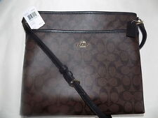 NWT Coach 34938 SIGNATURE FILE BAG CROSSBODY handbag Brown / Black
