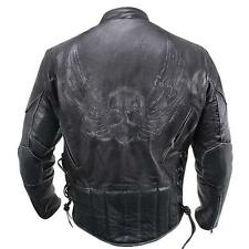 Mens Premium Black Distressed-Leather Flying Skull Racer Jacket
