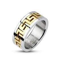AF Stainless Steel Ring Silver gold plated Maze Line sizes 47 (15) ? 69 (22)