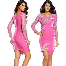 Fuchsia Soft Velvet Party Dress With Sequined Lace Splice Long Sleeve Stage Cute
