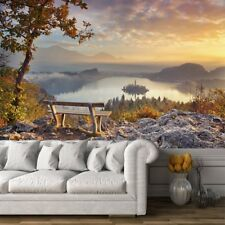 Bench Over Lake Bled Autumn Sunrise Slovenia Wall Mural Photo Wallpaper
