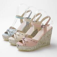 New Womens Synthetic Leather Floral Shoes Platform Wedge Heels Strap Hot Sandals