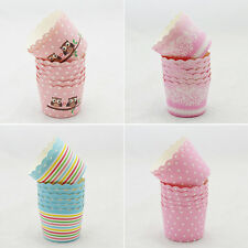 50 Pcs Utility Cake Baking Paper Cup Cupcake Muffin Cases Fit Home Party WA