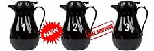 1.9 Liter or 64 oz. Durable Coffee Tea Cafe Black Thermal Swirl Server, LOT of 3